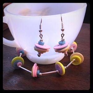 Jewelry - 💙🌺Cute Buttons Bracelet & Earrings Set🌺💙